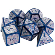 Poly 7 Dice Set: Metal - Blue w/ White Confetti Thumb Nail