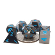 Poly 7 Dice Set: Mini Metal - Black w/Blue Thumb Nail