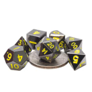 Poly 7 Dice Set: Mini Metal - Black w/Yellow Thumb Nail