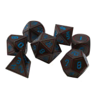 Poly 7 Dice Set: Metal - Gunmetal w/ Blue & Orange Thumb Nail