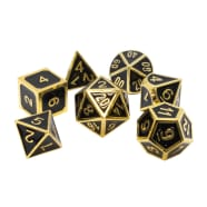 Poly 7 Dice Set: Metal - Black w/ Gold Thumb Nail