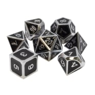 Poly 7 Dice Set: Metal - Black w/ Silver Thumb Nail