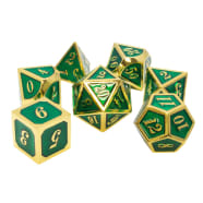 Poly 7 Dice Set: Metal - Green w/ Gold Thumb Nail