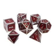 Poly 7 Dice Set: Metal - Red w/ Silver Thumb Nail