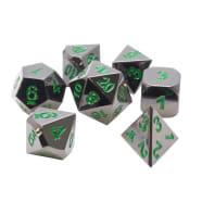 Poly 7 Dice Set: Metal - Gunmetal w/ Green Thumb Nail