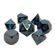 Poly 7 Dice Set: Metal - Gunmetal w/ Teal Thumb Nail