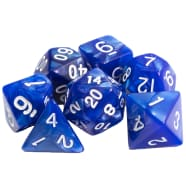 Poly 7 Dice Set: Marble - Blue w/ White Thumb Nail