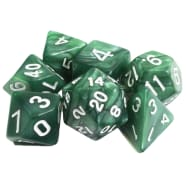 Poly 7 Dice Set: Marble - Green w/ White Thumb Nail