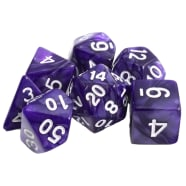 Poly 7 Dice Set: Marble - Purple w/ White Thumb Nail