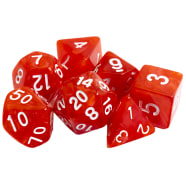 Poly 7 Dice Set: Marble - Red w/ White Thumb Nail