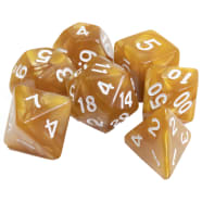 Poly 7 Dice Set: Marble - Gold w/ White Thumb Nail