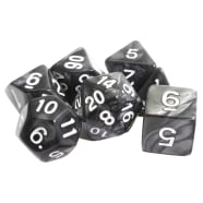 Poly 7 Dice Set: Marble - Black w/ White Thumb Nail