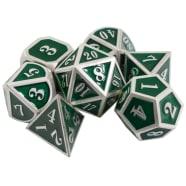 Poly 7 Dice Set: Mini Metal - Silver w/ Green Thumb Nail