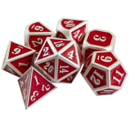 Poly 7 Dice Set: Mini Metal - Silver w/ Red Thumb Nail
