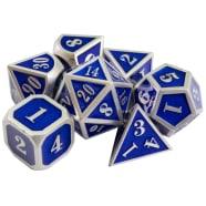 Poly 7 Dice Set: Mini Metal - Silver w/ Blue Thumb Nail