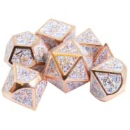 Poly 7 Dice Set: Metal - Copper w/ White Confetti Thumb Nail