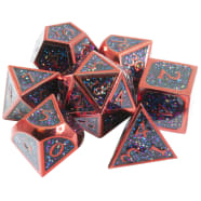 Poly 7 Dice Set: Metal - Red w/ Multi-color Glitter Thumb Nail