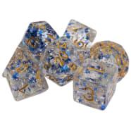 Poly 7 Dice Set: Resin- Clear Blue Stars w/ Glitter Thumb Nail