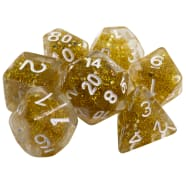 Poly 7 Dice Set: Resin- Clear Glitter w/ Gold Thumb Nail