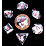 Poly 7 Dice Set: Mini Marble w/Red Thumb Nail
