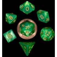 Poly 7 Dice Set: Mini Green & Light Green w/Gold Thumb Nail
