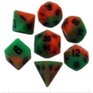 Poly 7 Dice Set: Mini Orange/Green w/Black Thumb Nail