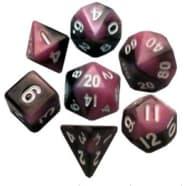 Poly 7 Dice Set: Mini Pink/Black w/White Thumb Nail