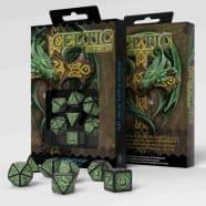 Poly 7 Dice Set: Celtic 3D - Black/Green Thumb Nail