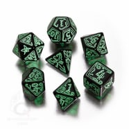 Poly 7 Dice Set: Call of Cthulhu RPG - Black w/Green Thumb Nail