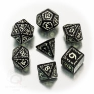 Poly 7 Dice Set: Runic - Black-glow-in-the-dark Thumb Nail