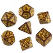 Poly 7 Dice Set: Steampunk - Brown/Yellow Thumb Nail