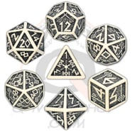 Poly 7 Dice Set: Dwarven - Beige/Black Thumb Nail