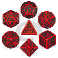 Poly 7 Dice Set: Dwarven - Red/Black Thumb Nail