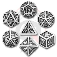 Poly 7 Dice Set: Dwarven - White/Black Thumb Nail