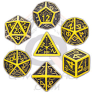 Poly 7 Dice Set: Dwarven - Yellow/Black Thumb Nail