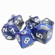 Poly 7 Dice Set: Blessed Steel (7) Silver/Blue Fusion RPG 16mm Thumb Nail