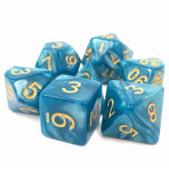 Poly 7 Dice Set: Sleepy Sky - Blue Pearl Opaque Thumb Nail
