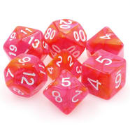 Dice - Dragon's Blaze (7) Orange/Rose Fusion RPG 16mm Thumb Nail