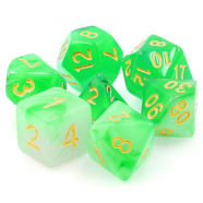 Poly 7 Dice Set: Eldritch Gaze - Green Haze Translucent Thumb Nail