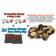Role Play Master Pack TALI 10 Knuckle Bone Dice Only (2 Red) + 140 Historic Metal Coins Thumb Nail