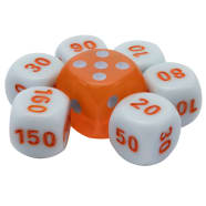 Pokemon - League Battle Deck White/Orange Dice Set of 6 + Bonus Die Thumb Nail