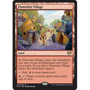FLAMEKIN VILLAGE Commander 2014 MTG Land Elemental Rare