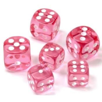 12mm d6 Dice Block: Translucent Pink w/White