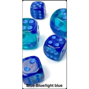 12mm d6 Dice Block: Gemini Luminary Blue-Blue/Light Blue