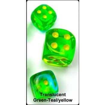 12mm d6 Dice Block: Gemini Luminary Green-Teal/Yellow