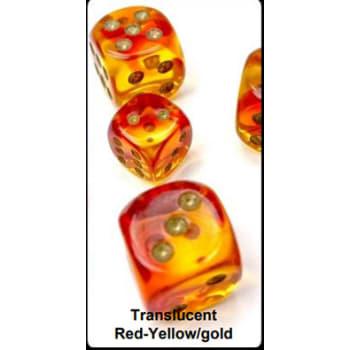 12mm d6 Dice Block: Gemini Luminary Red-Yellow/Gold