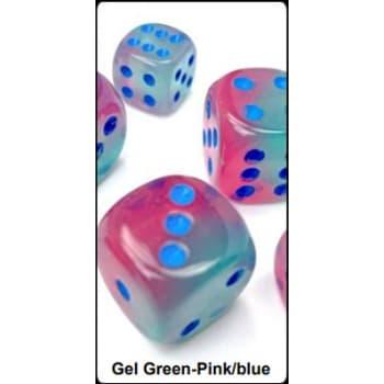 12mm d6 Dice Block: Gemini Luminary Gel Green-Pink/Blue (36)