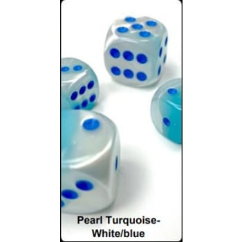 12mm d6 Dice Block: Gemini Luminary Pearl Turquoise-White/Blue (36)