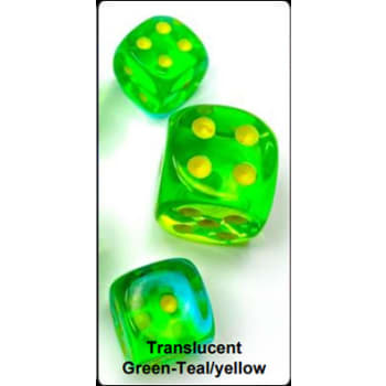 12mm d6 Dice Block: Gemini Luminary Green-Teal/Yellow (36)