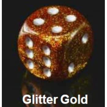 Poly 7 Dice Set: Glitter Gold w/Silver